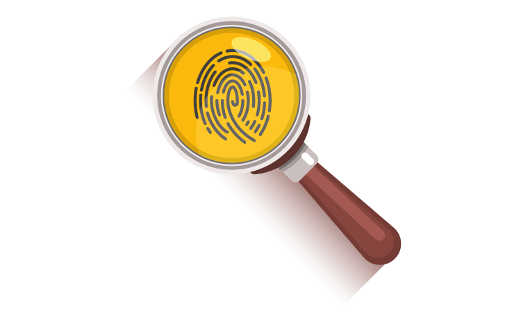 Inspecting a fingerprint with a magnifying glass