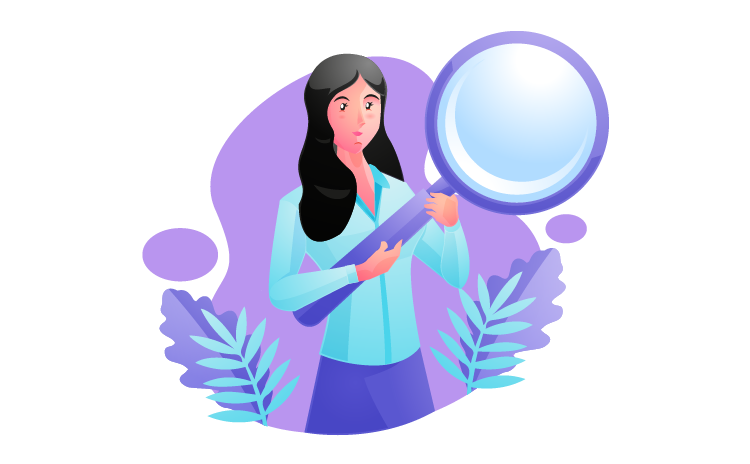 Illustration of a woman holding a big magnifying glass
